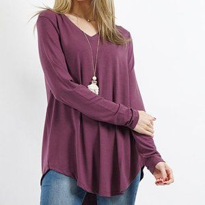 NEW Eggplant round hem LS v neck tee so soft